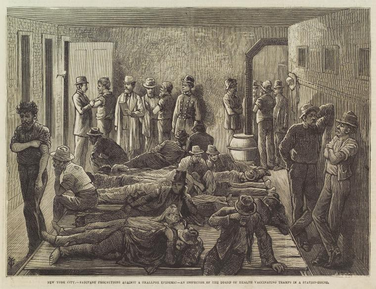 Men without housing receiving vaccinations during a Smallpox epidemic around 1879.