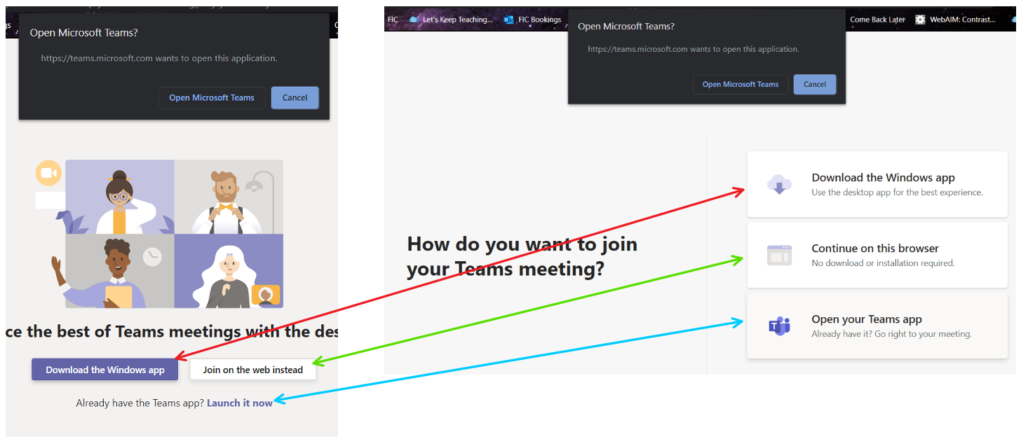 Microsoft Teams log in options including downloading app, using the web, or launching existing app