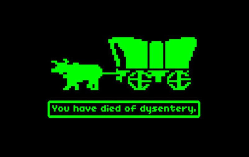 """Pixel animation of covered wagon with text that reads """"You have died of dysentery."""""""