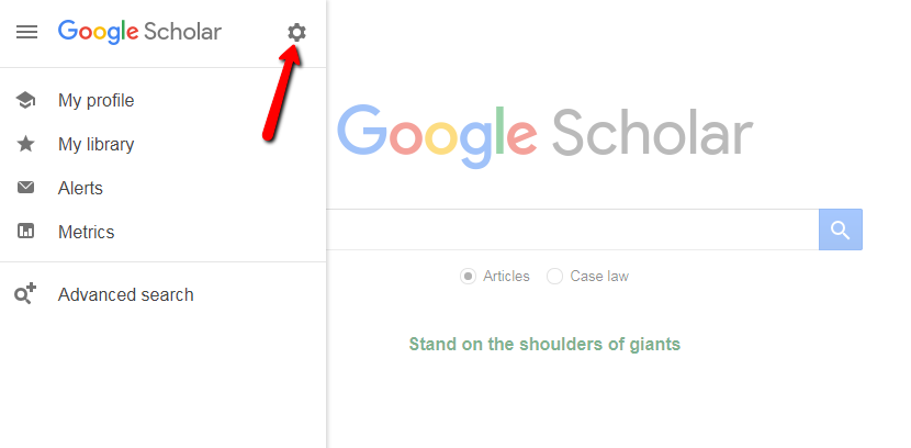 Google Scholar navigation menu with arrow indicating settings icon