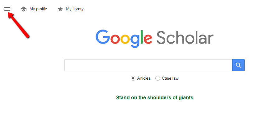 Google Scholar homepage with arrow indicating menu