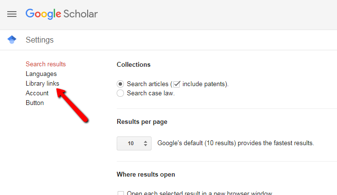 "Google Scholar settings page with arrow indicating link to ""library links"""