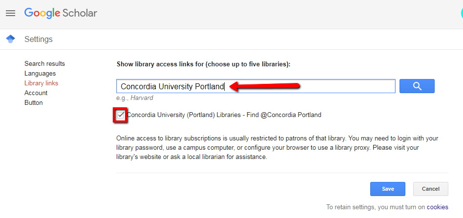 Google Scholar library links page with search box