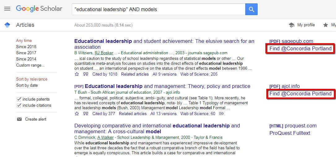 Google Scholar library links step 5 screenshot