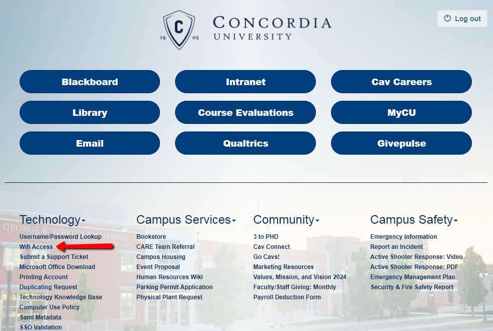 CU Portal landing page with arrow indicating location of Wifi Access link in lower left section
