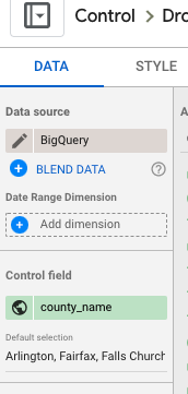 choose counties for control field settings