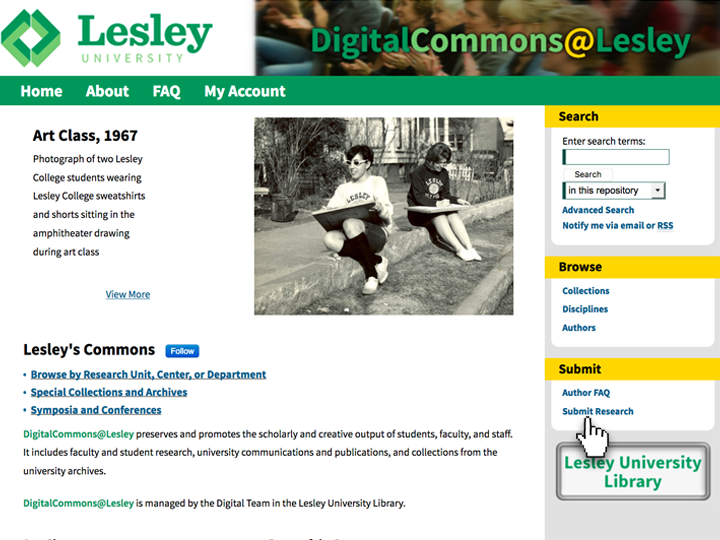 Image of http://digitalcommons.lesley.edu/ front page. Use the Submission Wizard to submit your work: http://bit.ly/DCLesley or go to http://digitalcommons.lesley.edu and click on