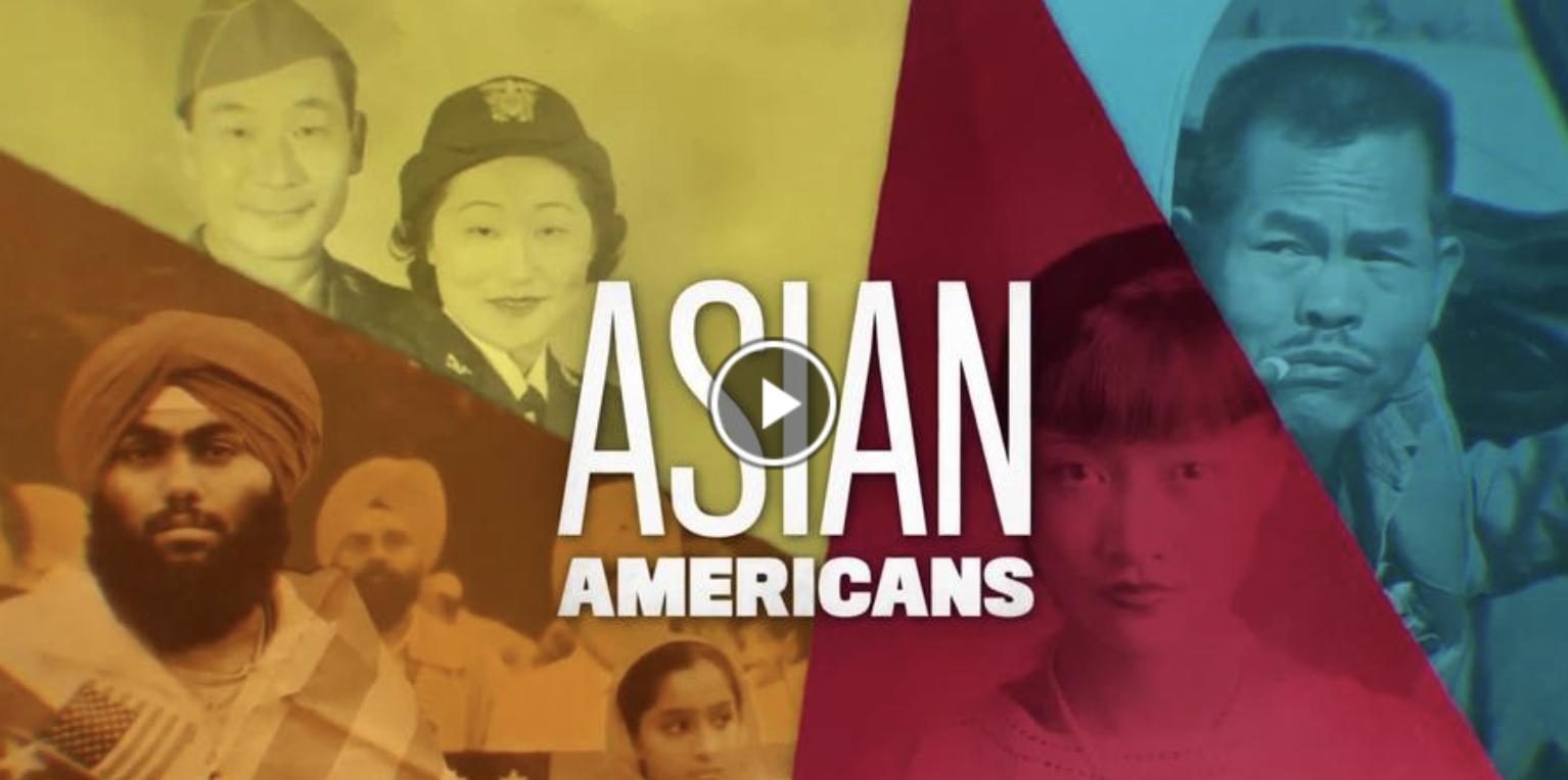 Images of Asian Americans with a multicolored background