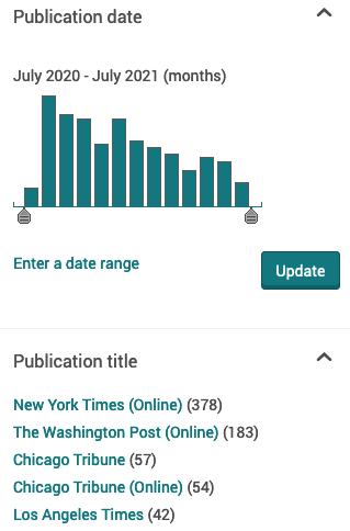 Limit by publication date or publication title