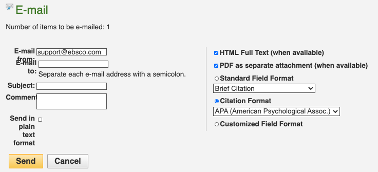 change citation format to APA before emailing