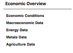 Economic Overview: Econ conditions, macroeconomic data, energy data, metals data, agricultural data