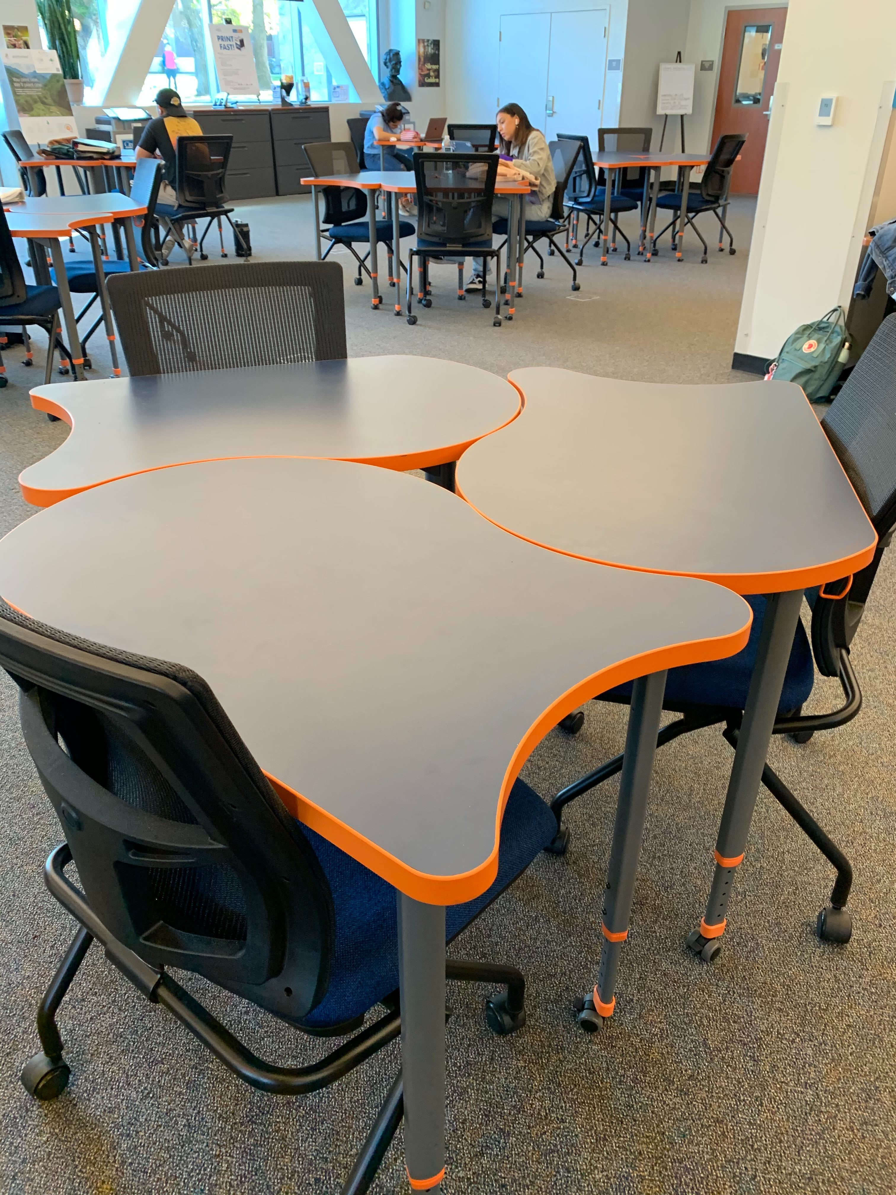 3 nesting study tables on the 1st floor that are on wheels and can be rearranged to best fir your needs.