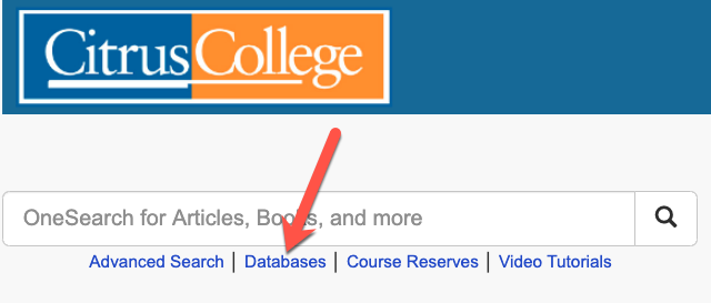 from library website, select databases
