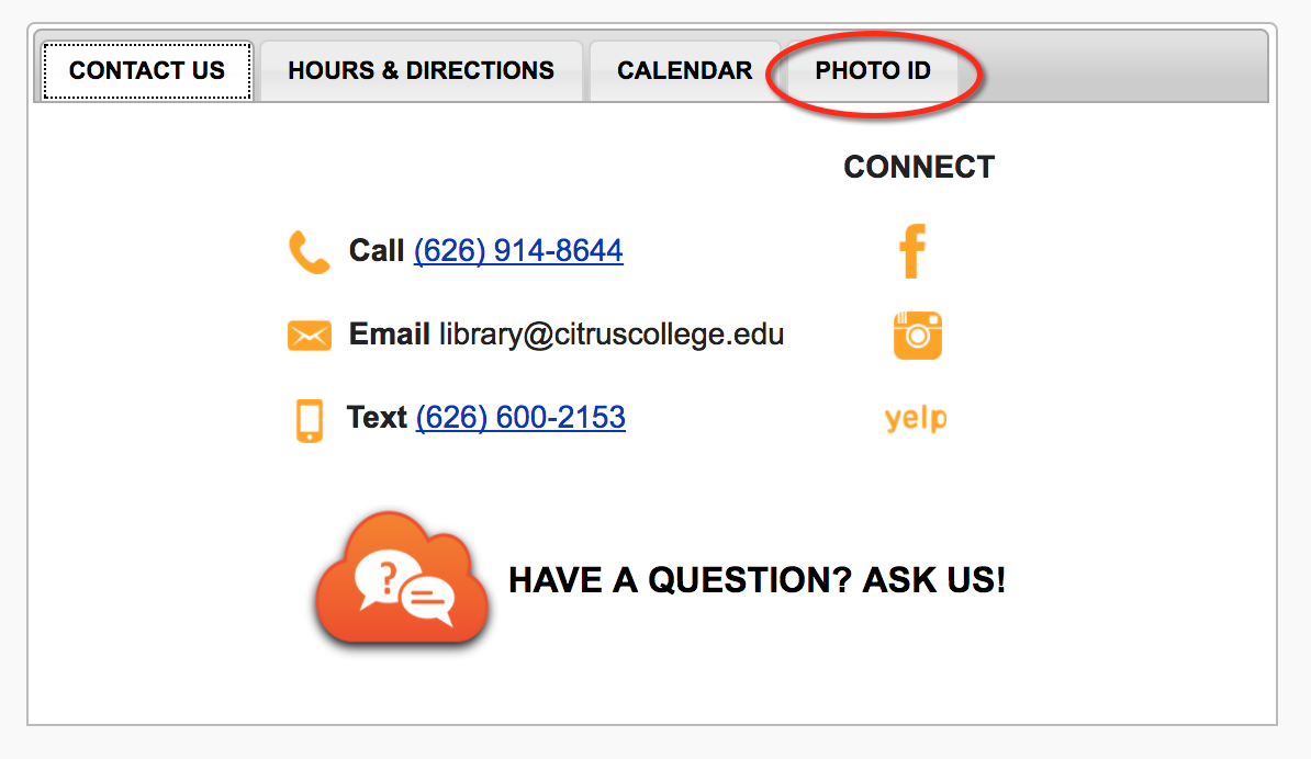 Photo ID tab on library homepage