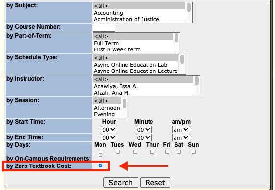 Screenshot of the Zero Textbook Cost box checked when searching WingSpan for courses