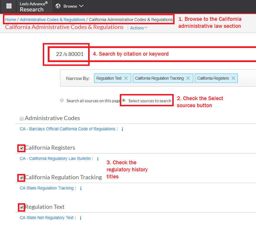 Screencap showing steps to search regulatory history material on Lexis