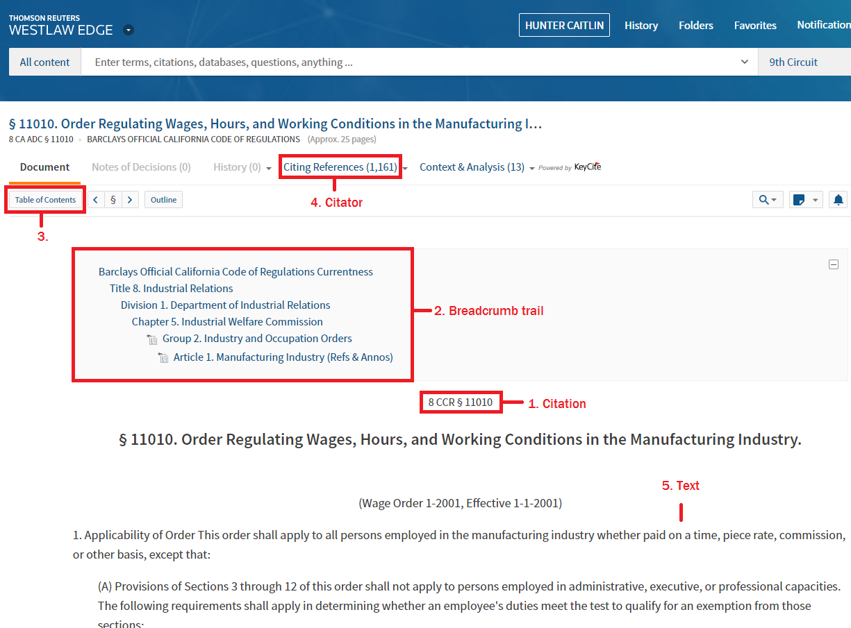 Screencap of a California regulation on Westlaw