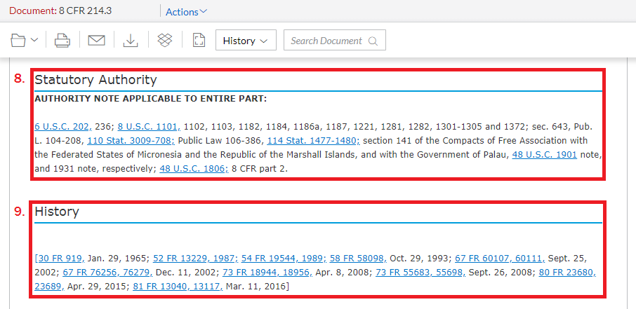 Screencap of Statutory Authority and History section on Lexis