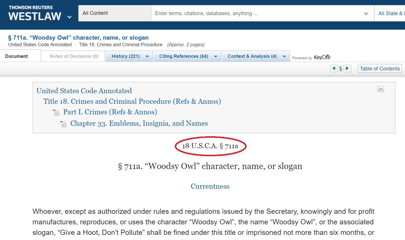 Screenshot of Westlaw