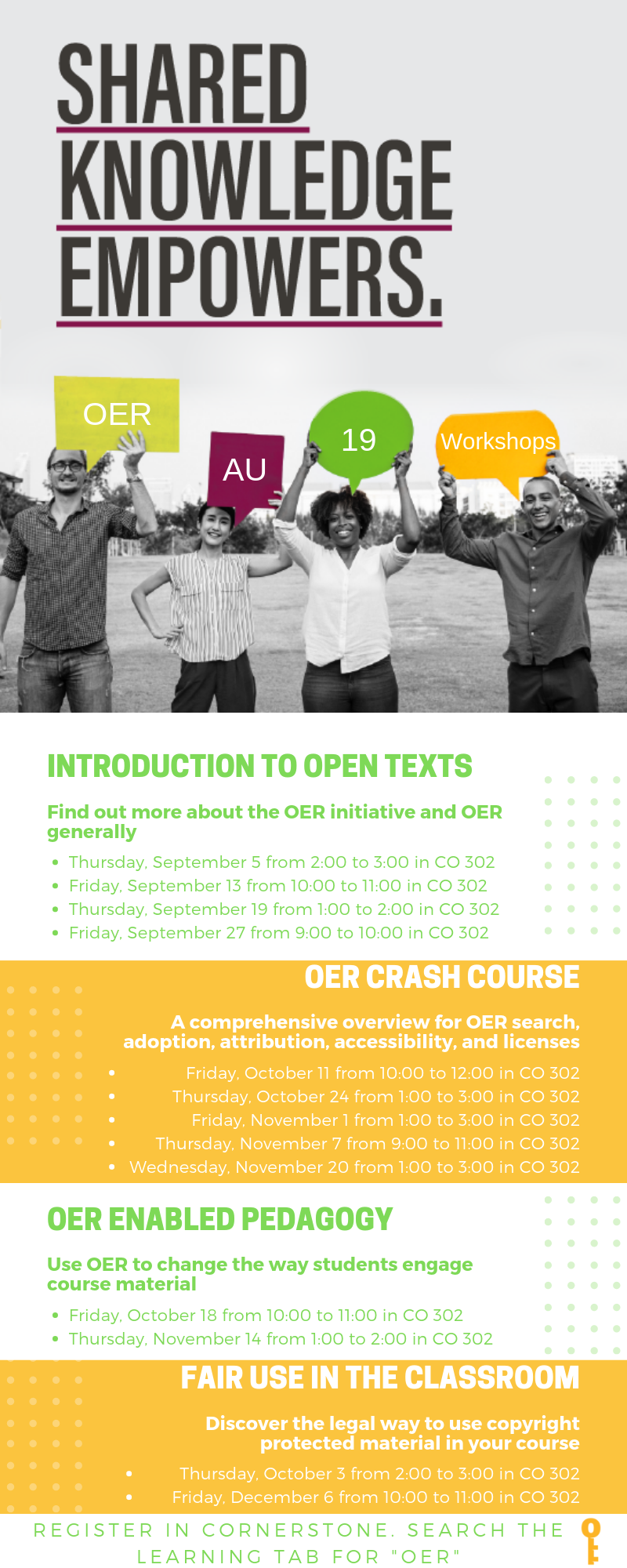 Shared Knowledge Empowers OER Autumn 2019 Workshops All workshops held in Columbus Hall 302 Register in Cornerstone Intro to Open Texts September 5 from 2:00 to 3:00 i September 13 from 10:00 to 11:00 September 19 from 1:00 to 2:00  September 27 from 9:00 to 10:00 OER Crash Course October 11 from 10:00 to noon October 24 from 1:00 to 3:00 November 1 from 1;00 to 3:00 November 7 from 9:00 to 11:00 November 20 from 1:00 to 3:00 OER Enabled Pedagogy October 18 from 10:00 to 11:00 November 14 from 1:00 to 2:00 Fair Use in the Classroom October 3 from2:00 to 3:00 December 6 from 10:00 to 11:00