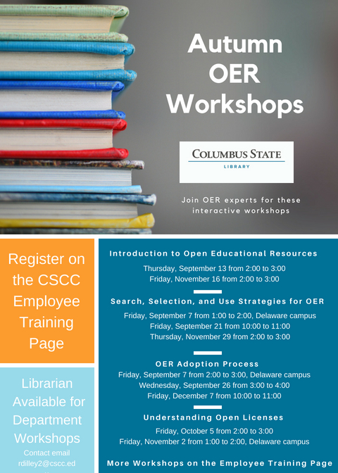 Summer OER workshop schedule. Click on graphic for link to registration page.