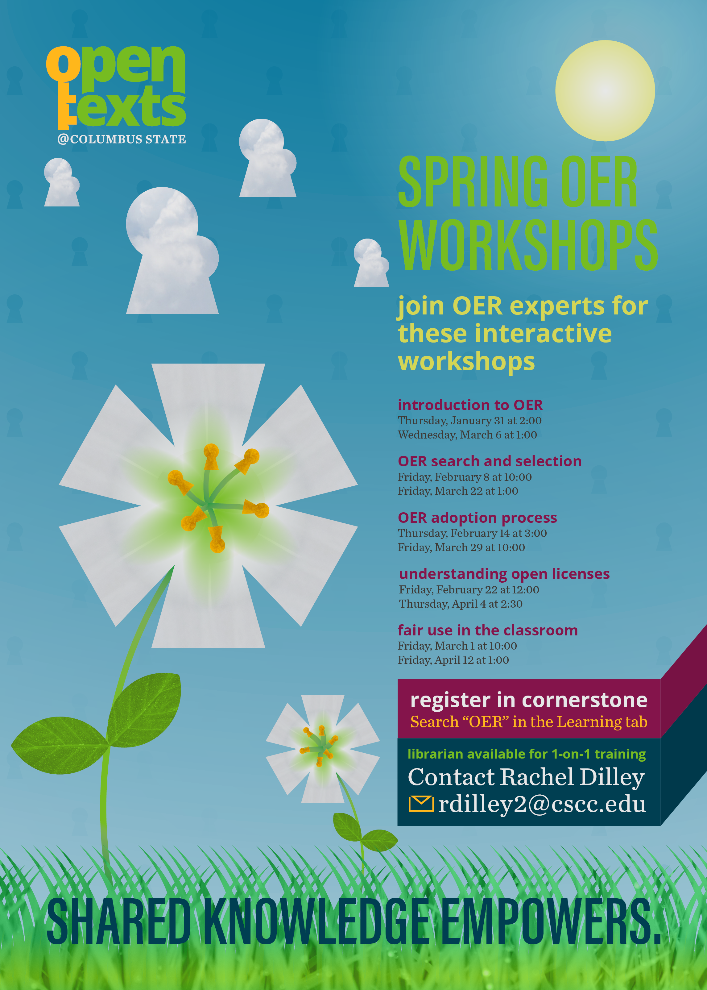Schedule of Spring 2019 OER workshops, available for registration in Cornerstone.
