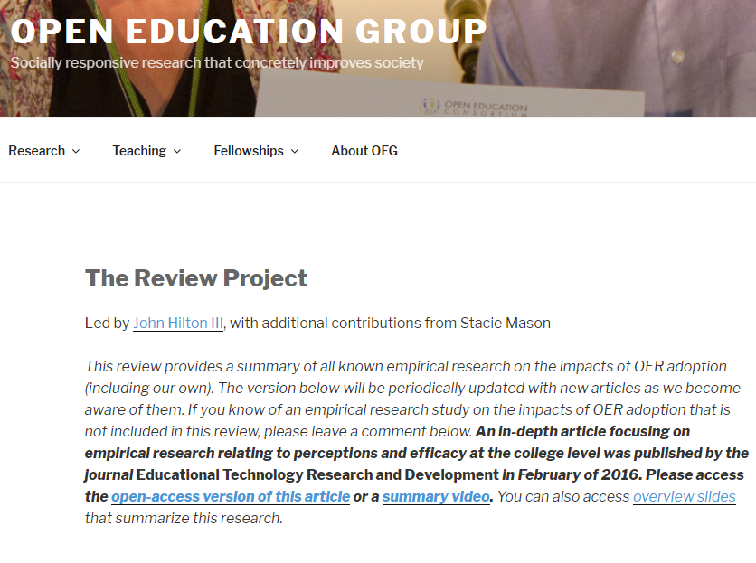 Screen Capture of the Open Education Group webpage