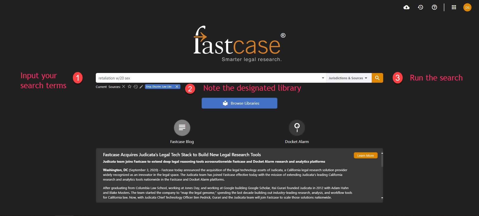 Screenshot of a sample search
