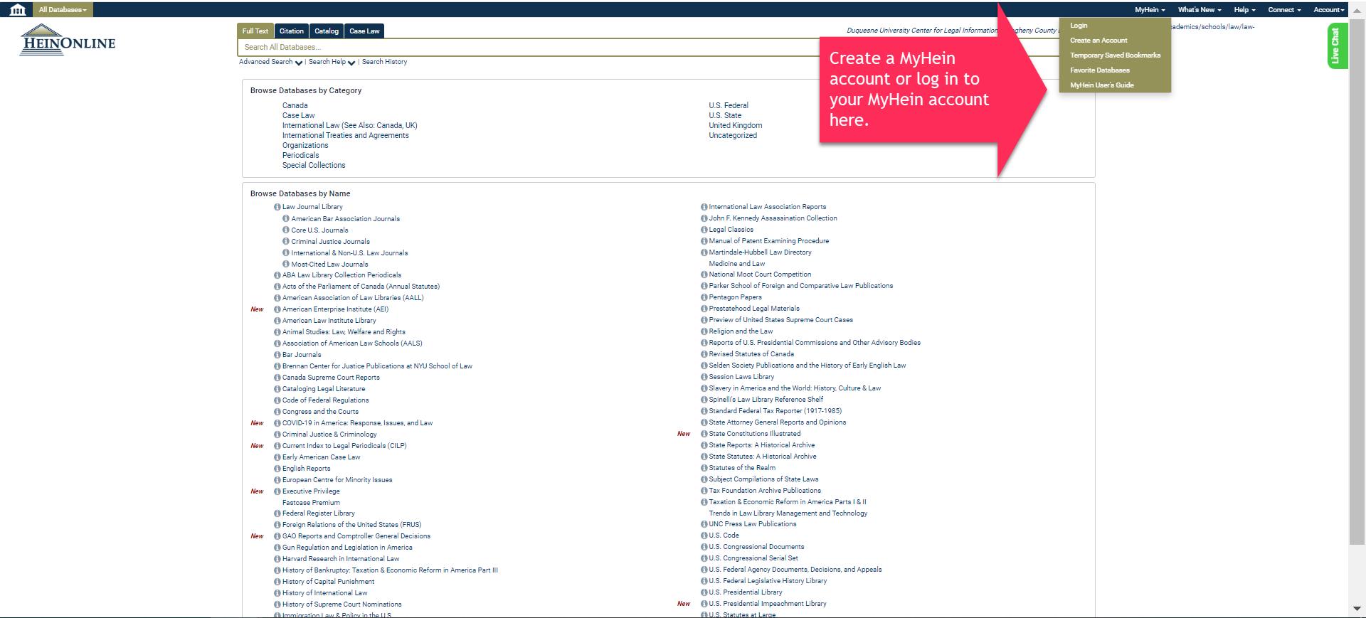 Screenshot of MyHein on HeinOnline