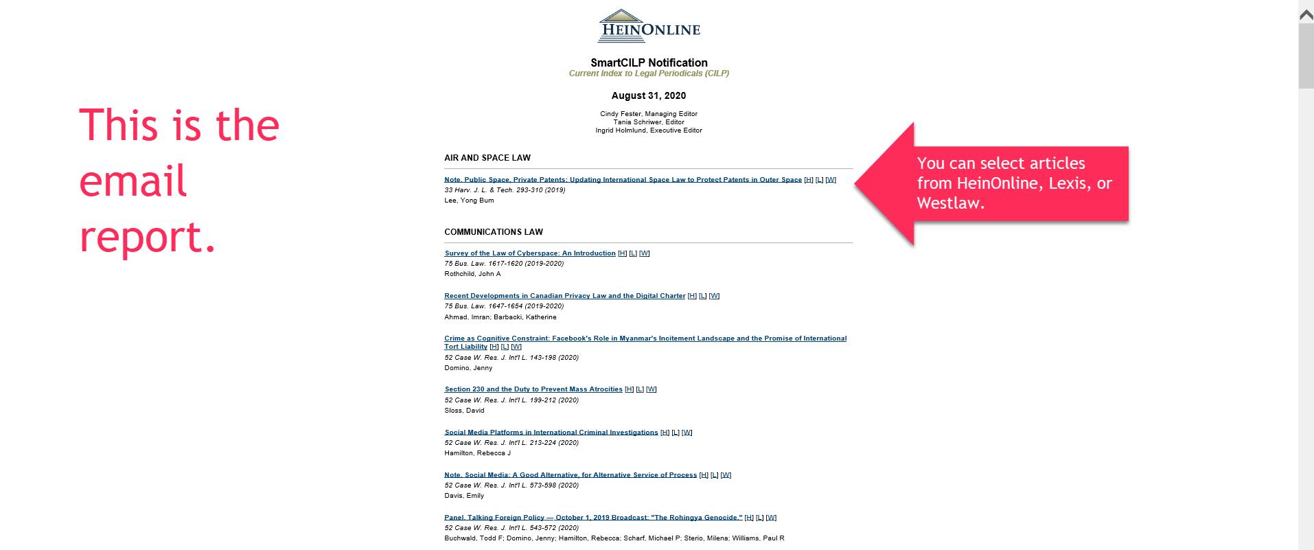 Screen shot of SmartCILP email report