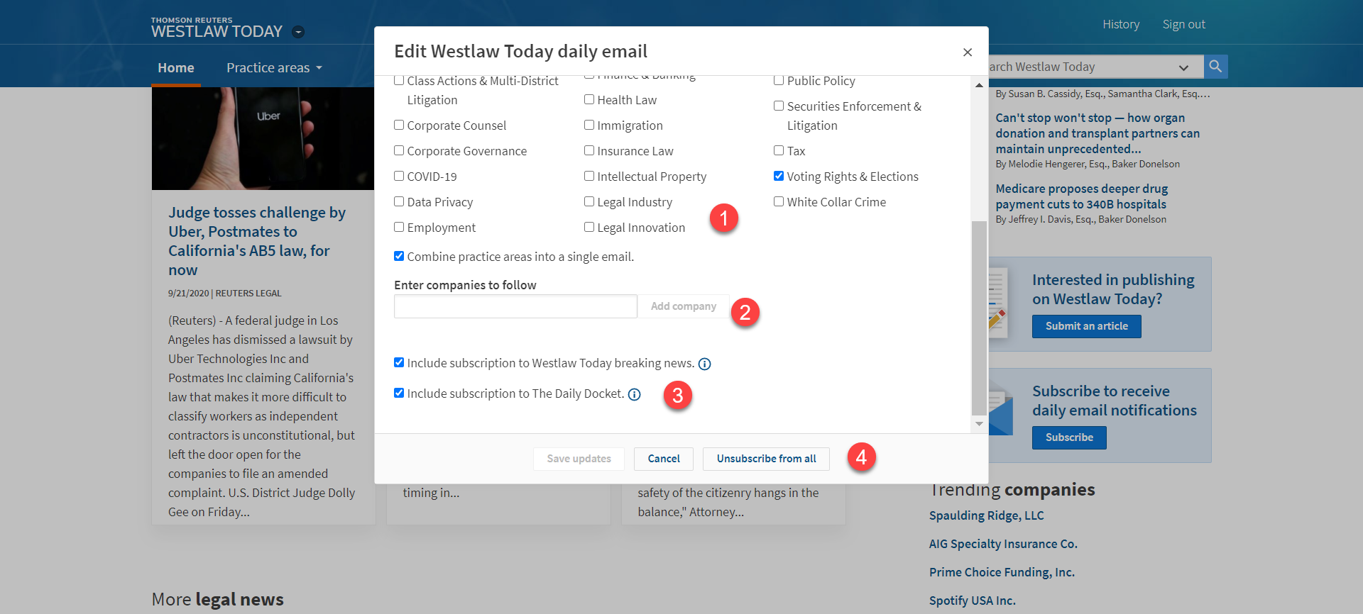 Westlaw Today Email Newsletter Screen Shot