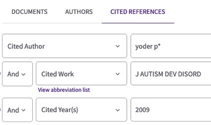 Cited References Search Screen