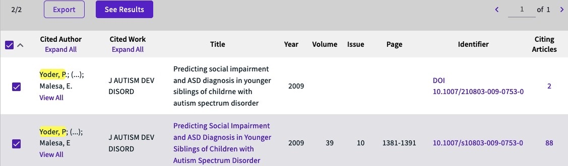 Search results show two matching citations