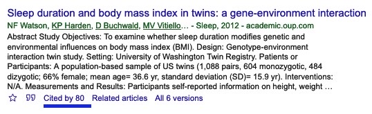 Article reference in Google Scholar showing the link to 80 citing articles.