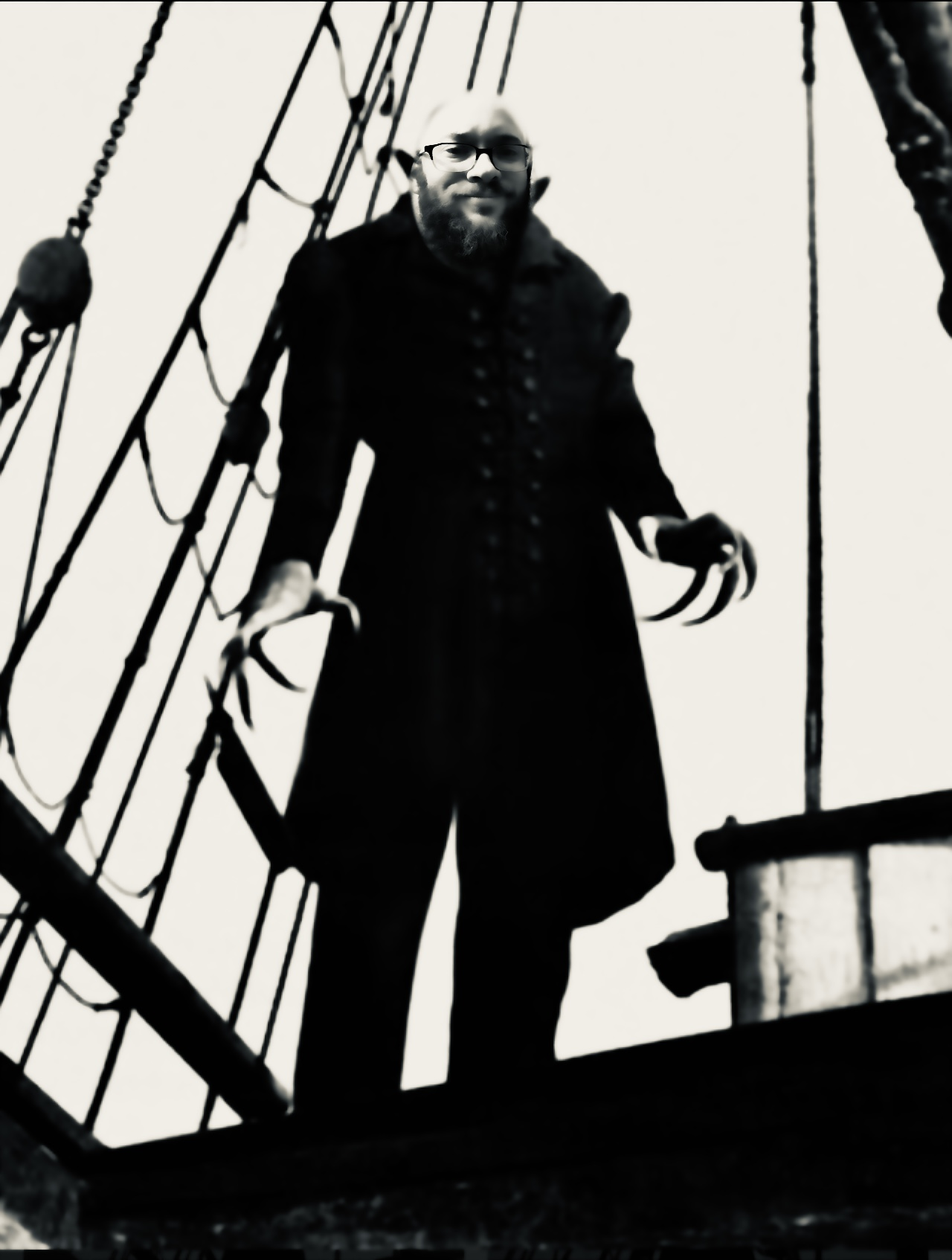 Spooky pirate with bearded man's face superimposed
