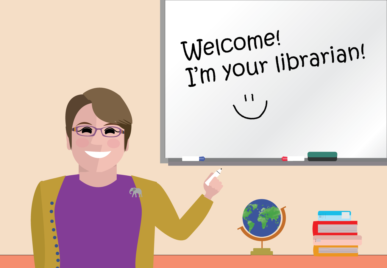 Librarian avatar in front of a whiteboard that says Welcome I'm your librarian