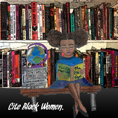 African American girl reading on a bench in front of a book shelf with Cite Black Women branding