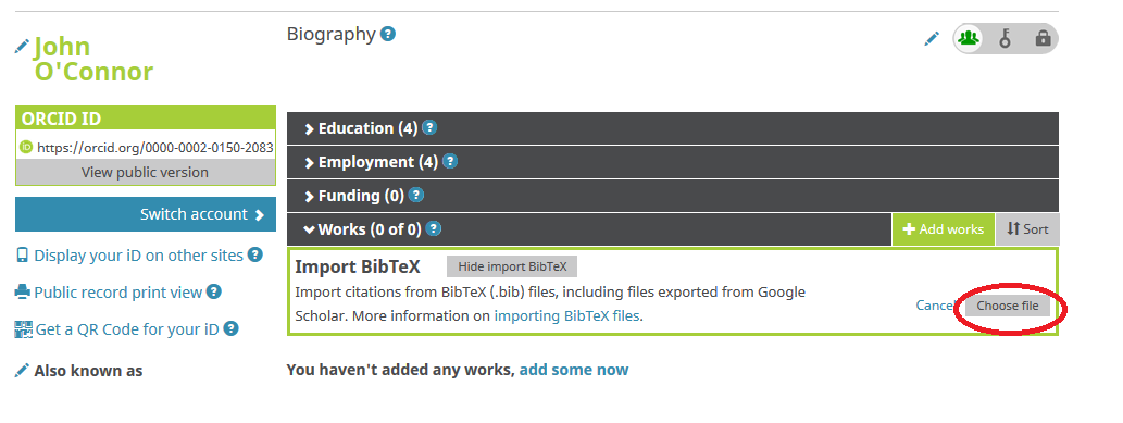 ORCID profile with a new box for importing BibTeX files visible underneath the