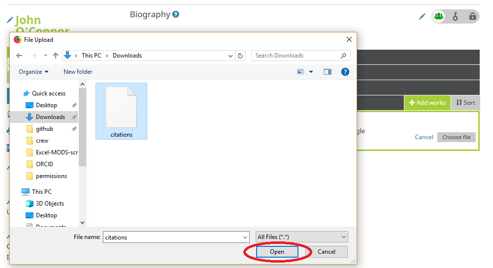 System popup window for finding an selecting files in the foreground. Background is an ORCID profile in a browser.