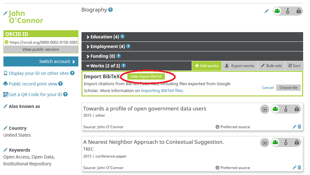 ORCID profile with works imported.