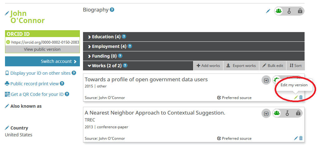 ORCID profile with completed Works section. Pencil icon for editing individual works is highlited
