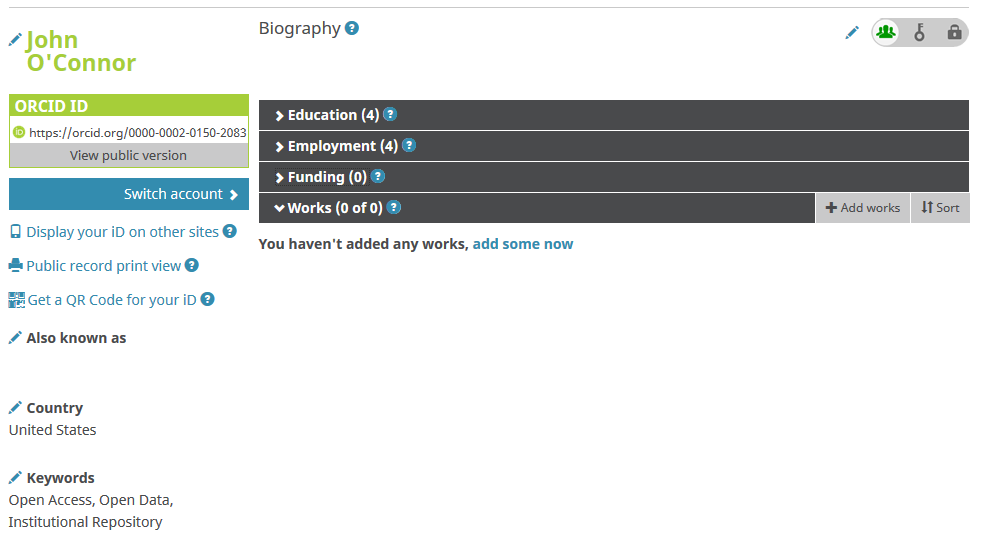 An ORCID profile page