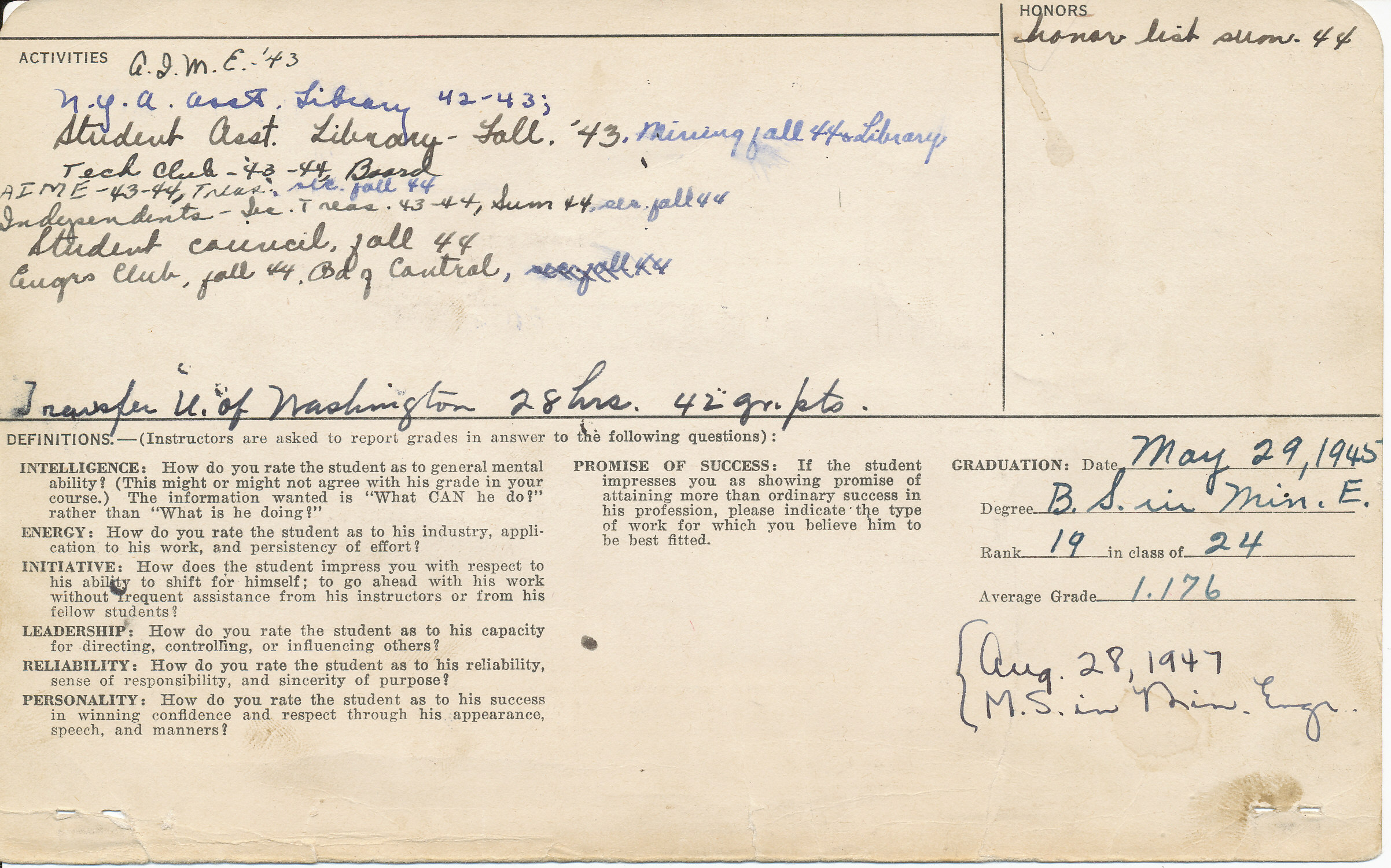 Kor Uyetake student card, side 2