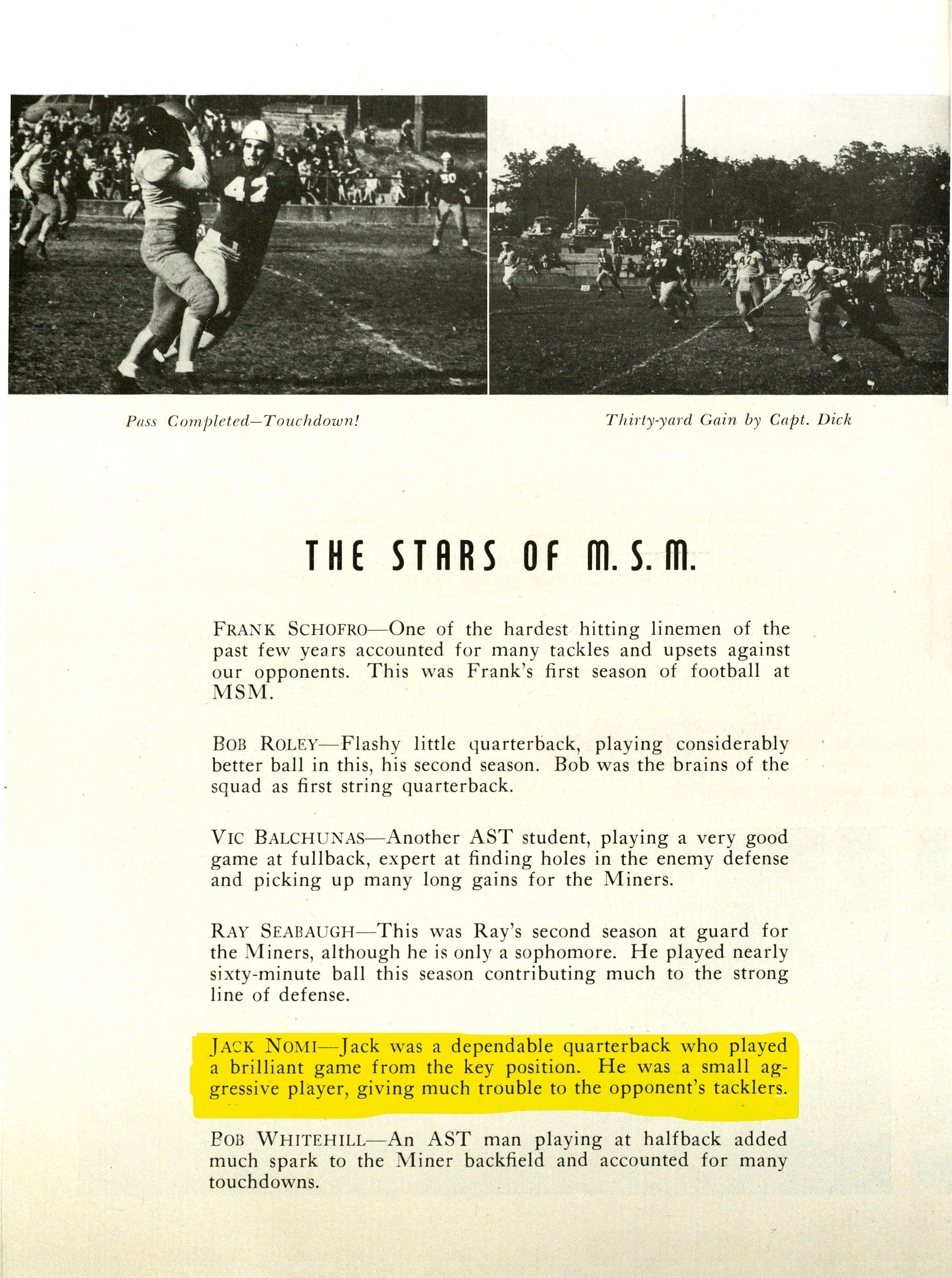 Jack Nomi football, Rollamo 1944