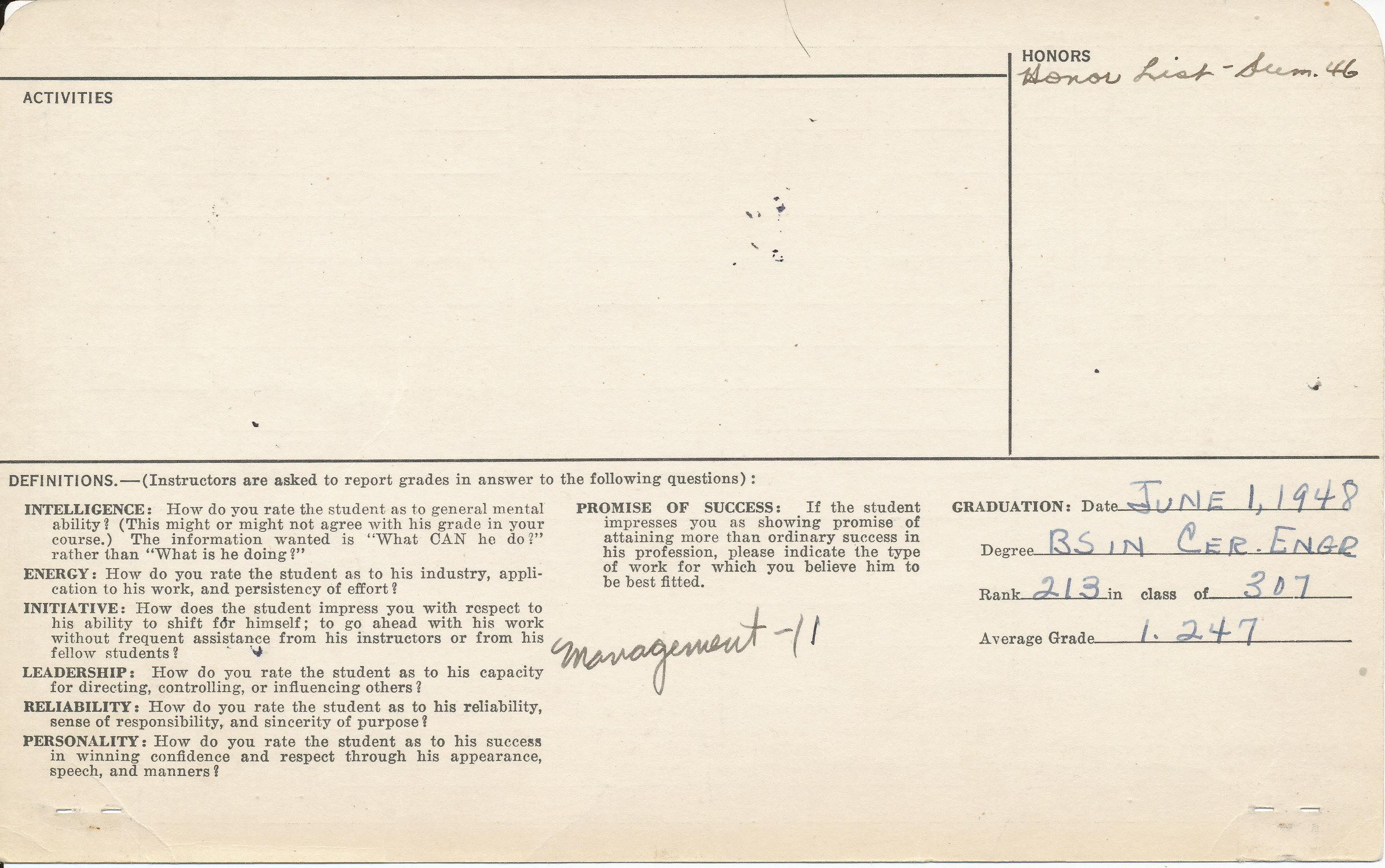 Tad Kawaguchi student card, side 1