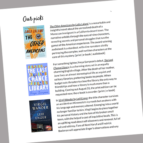 screenshot of a Books and Authors email from the Vernon Area Public Library