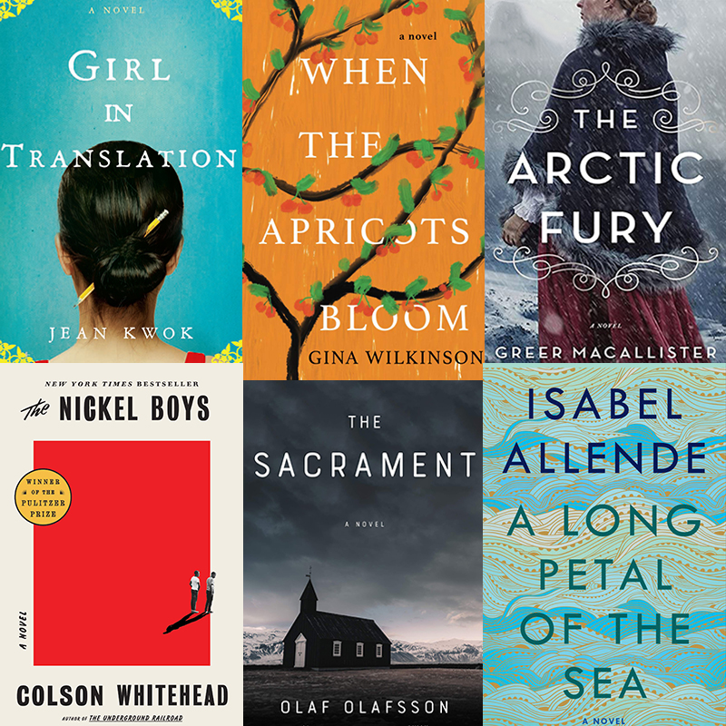 Composite image of six popular book club titles including Girl in Translation by Jean Kwok and A Long Petal of the Sea by Isabel Allende