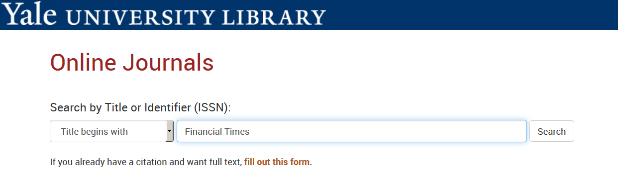 """A screenshot of the Online Journals search page, with """"Financial Times"""" entered in the search bar."""
