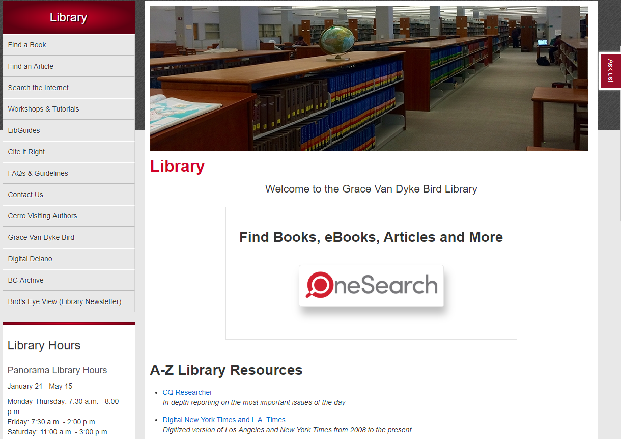 Library website OneSearch view