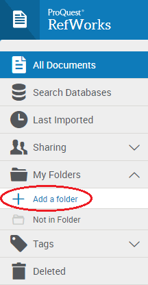 Adding a folder to your RefWorks account from the My Folders menu